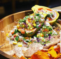 Opah Ceviche with local mango, papaya, herbs, sweet potato chips!
